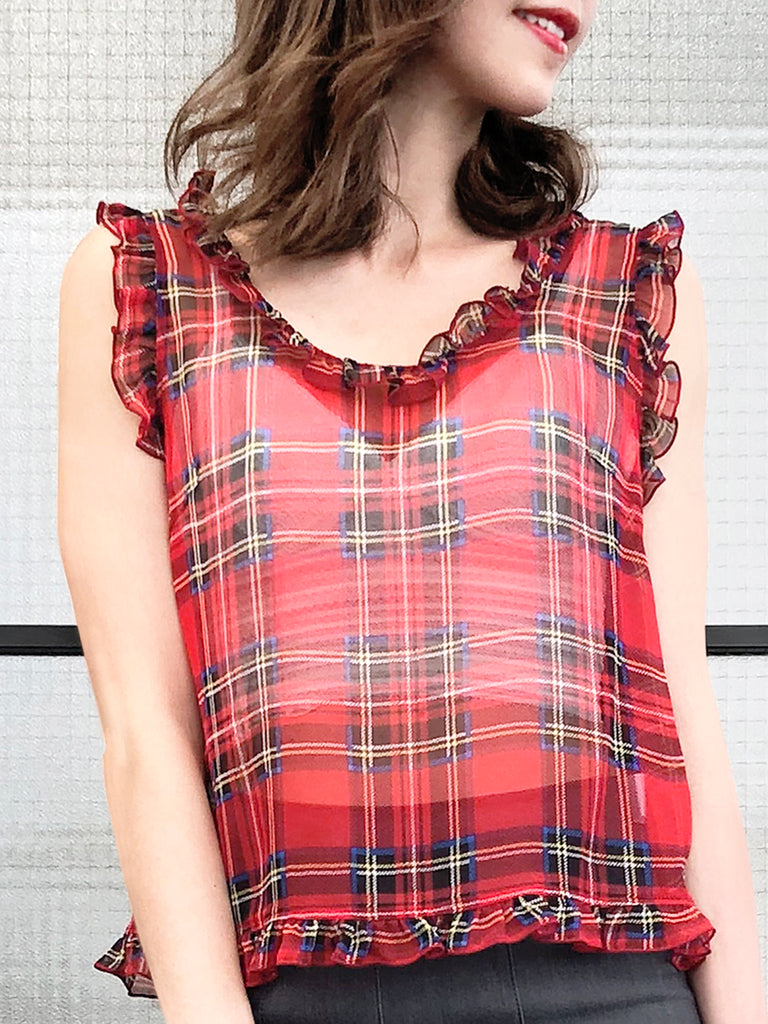 Surprise Sale! Red Checks Ruffled Trim Sleeveless Silky Tank Top