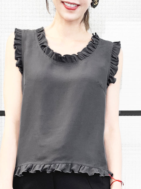 Dark Grey Ruffled Trim Sleeveless Silky Tank Top