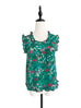 Green Flowers Print Ruffled Trim Sleeveless Silky Tank Top