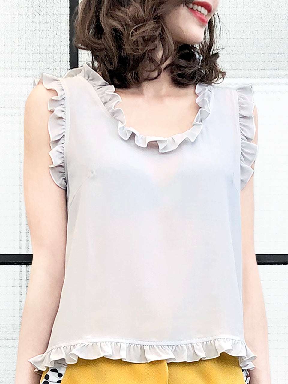 Surprise Sale! Light Grey Ruffled Trim Sleeveless Silky Tank Top