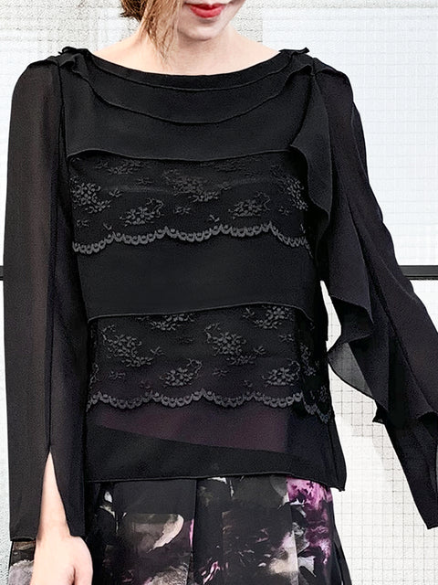 Black Lace Trims Tiered Ruffle Asymmetrical Sleeves Chiffon Silk Blouse