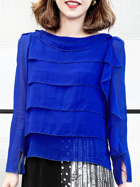 Electric Blue Tiered Ruffle Asymmetrical Sleeves Chiffon Silk Blouse