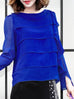 Surprise Sale! Electric Blue Tiered Ruffle Asymmetrical Sleeves Chiffon Silk Blouse