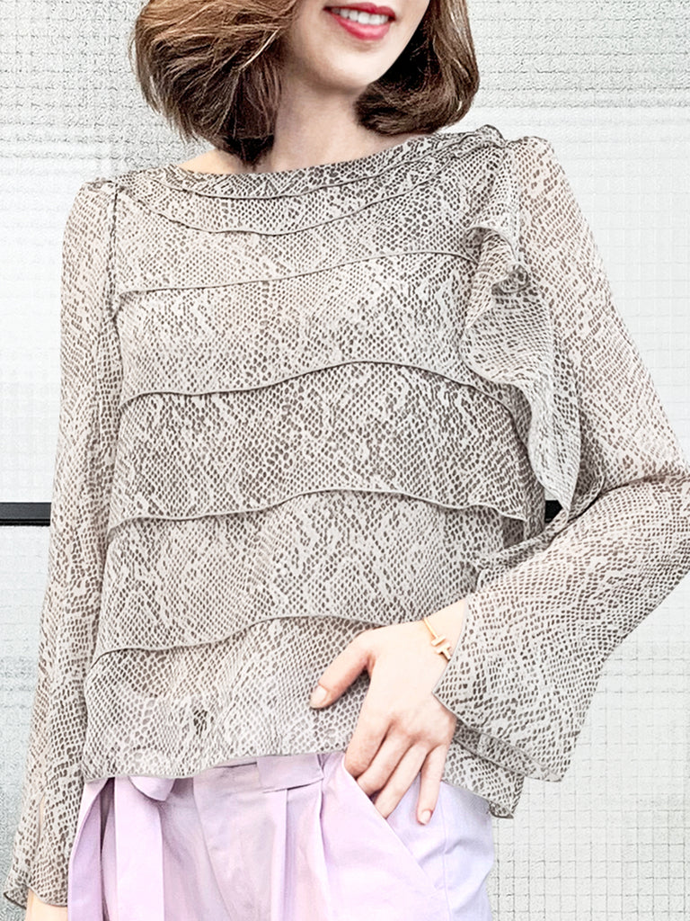 Surprise Sale! Snakeskin Prints Tiered Ruffle Asymmetrical Sleeves Chiffon Silk Blouse