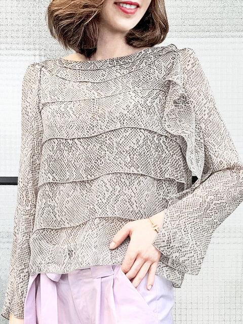 Snakeskin Prints Tiered Ruffle Asymmetrical Sleeves Chiffon Silk Blouse