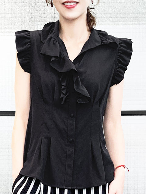 Black Ruffle High-neck Slim Silhouette Silk Blouse