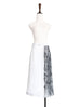 Surprise Sale! White Mixed Media Asymmetrical Pleated Midi-Skirt