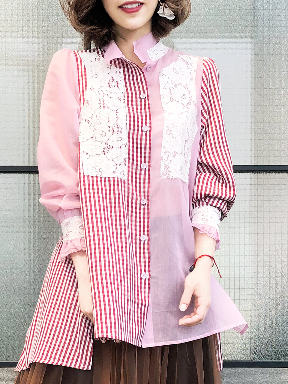 Last Chance! Pink Stripe-Crinkle Gingham Lace Trim Button Front Shirt