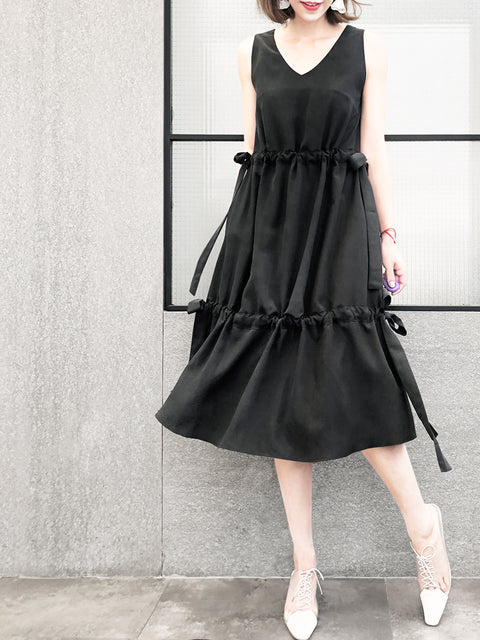 Black Twice Adjustable Cinched Lustrous Silky Panel Midi-Dress