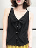 Surprise Sale! Black Ruffled Ribbon Bow Front Button Swing Silk Tank