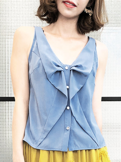 Greyish Blue Ruffled Ribbon Bow Front Button Swing Silk Tank