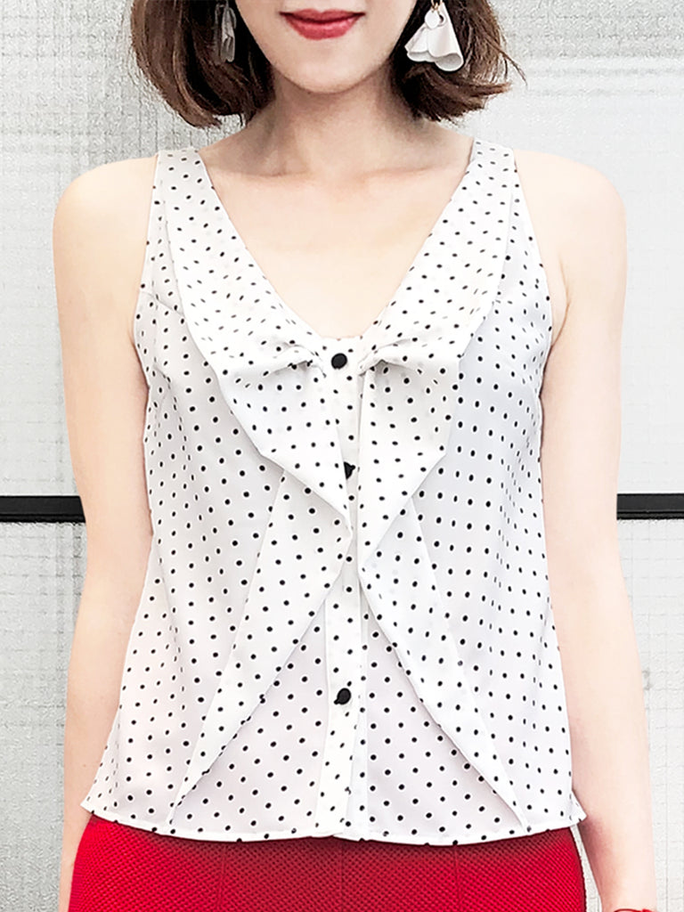 Surprise Sale! Tiny Dots Ruffled Ribbon Bow Front Button Swing Tank
