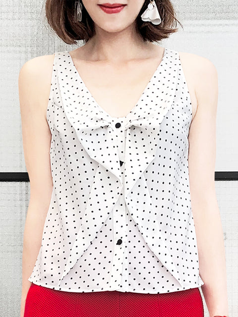 Tiny Dots Ruffled Ribbon Bow Front Button Swing Tank