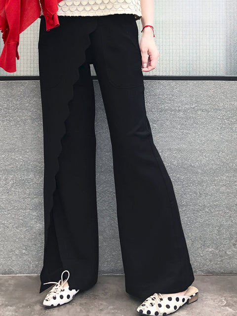 Classic Black Scallop Detail Faux Wrap Wide-leg Pants