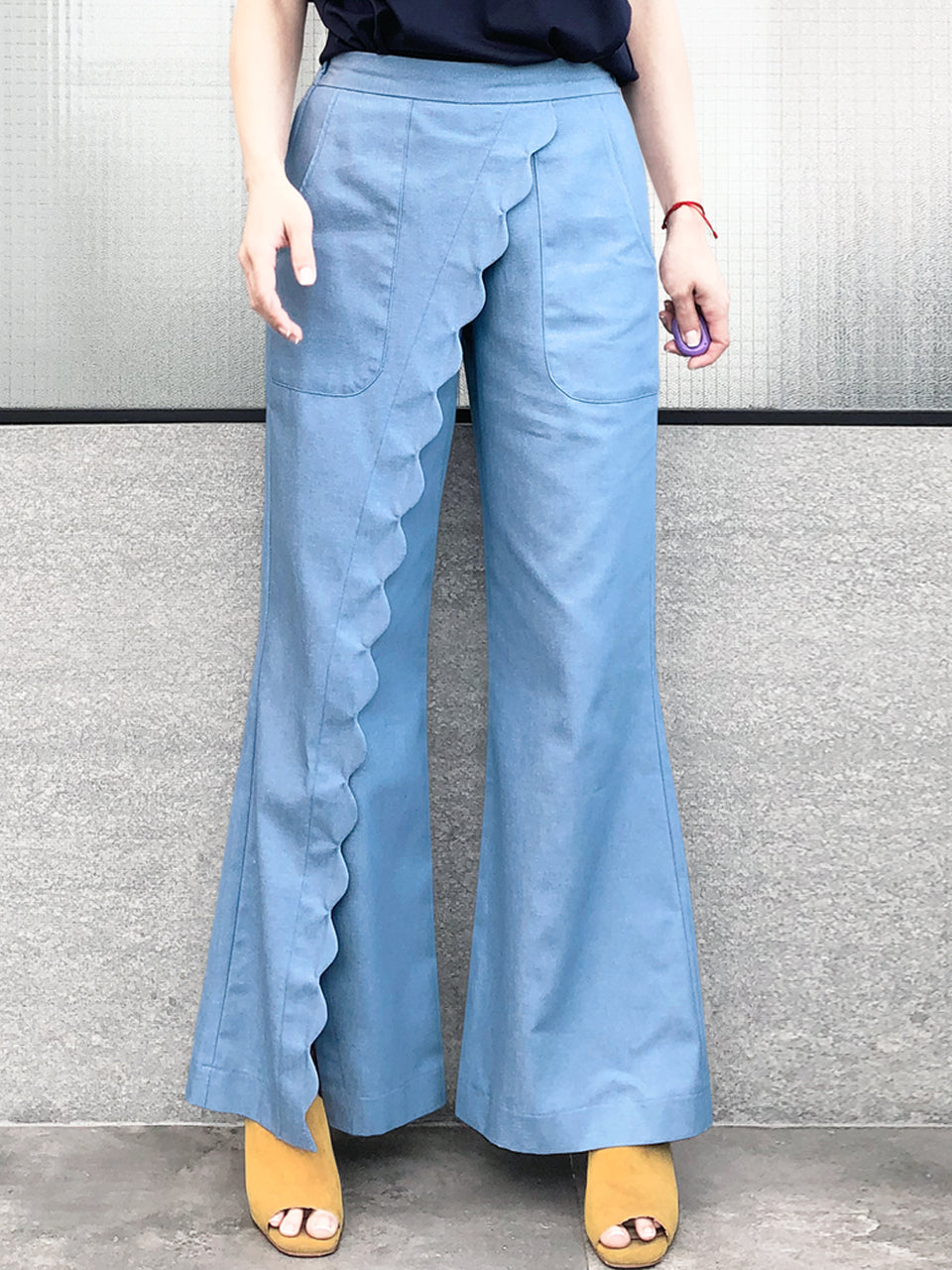 Last Chance! Light Denim Scallop Detail Faux Wrap Wide-leg Pants