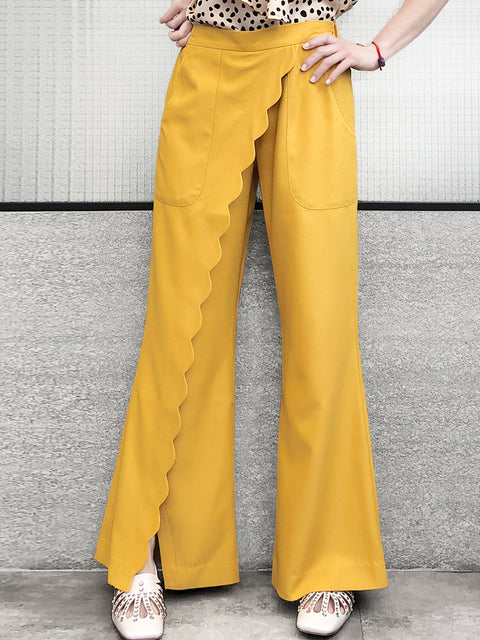 Fancy Yellow Scallop Detail Faux Wrap Wide-leg Pants