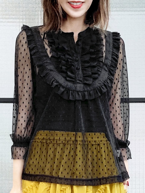 Black Polka Dot Ruffle Collar Sheer Tulle Blouse