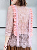 Surprise Sale! Pink Romance Ruffle Collar Sheer Eyelash Lace Blouse