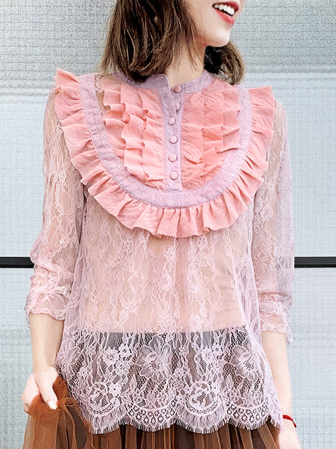 Pink Romance Ruffle Collar Sheer Eyelash Lace Blouse