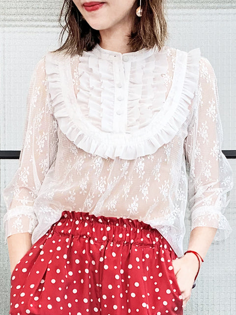 White Elegant Ruffle Collar Sheer Mesh Lace Blouse
