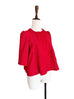 Last Chance! Red Cotton Blend Scalloped Placket Crop Sleeve Peplum Jacket
