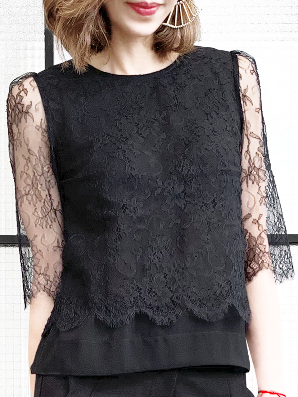 Surprise Sale! Black Eyelash Scalloped Lace Pearly Button Detail Chiffon Blouse