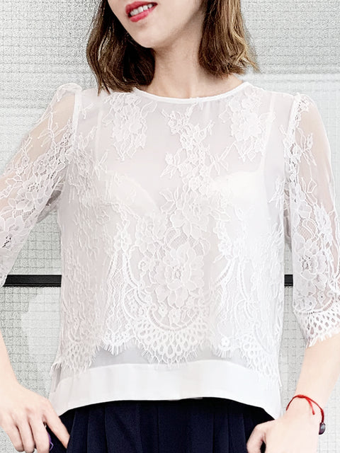 White Eyelash Scalloped Lace Pearly Button Detail Chiffon Blouse