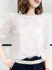 Surprise Sale! White Eyelash Scalloped Lace Pearly Button Detail Chiffon Blouse