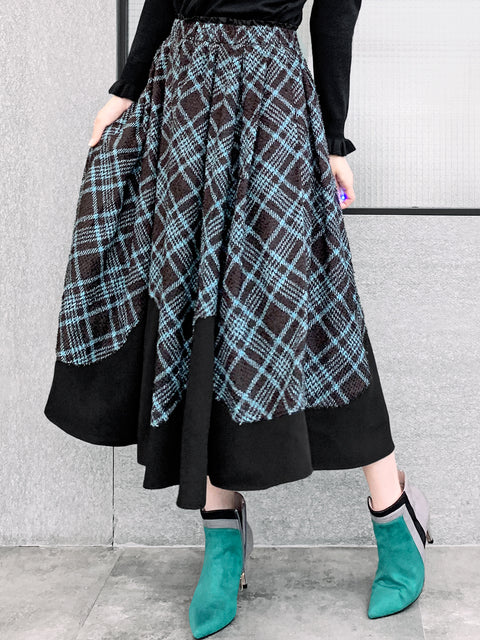 Plaid Pattern Contrasting Scallop Hem Textured Maxi Skirt