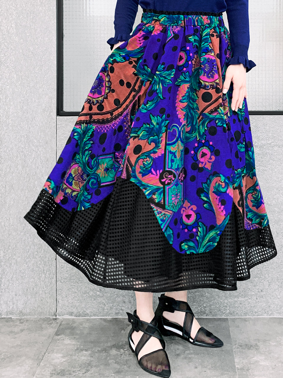 Surprise Sale! Paisley and Dots Contrasting Scallop Hem Wollen Maxi Skirt