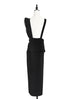 Black Asymmetrical Ruffle Strap Maxi Pinafore Dress
