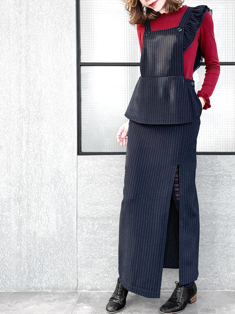 Navy Pinstripes Asymmetrical Ruffle Strap Maxi Pinafore Dress