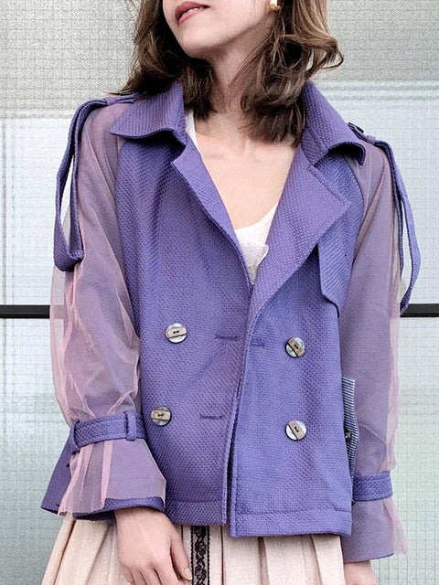 Purple Mesh Overlay Sleeves Crop Trench Jacket