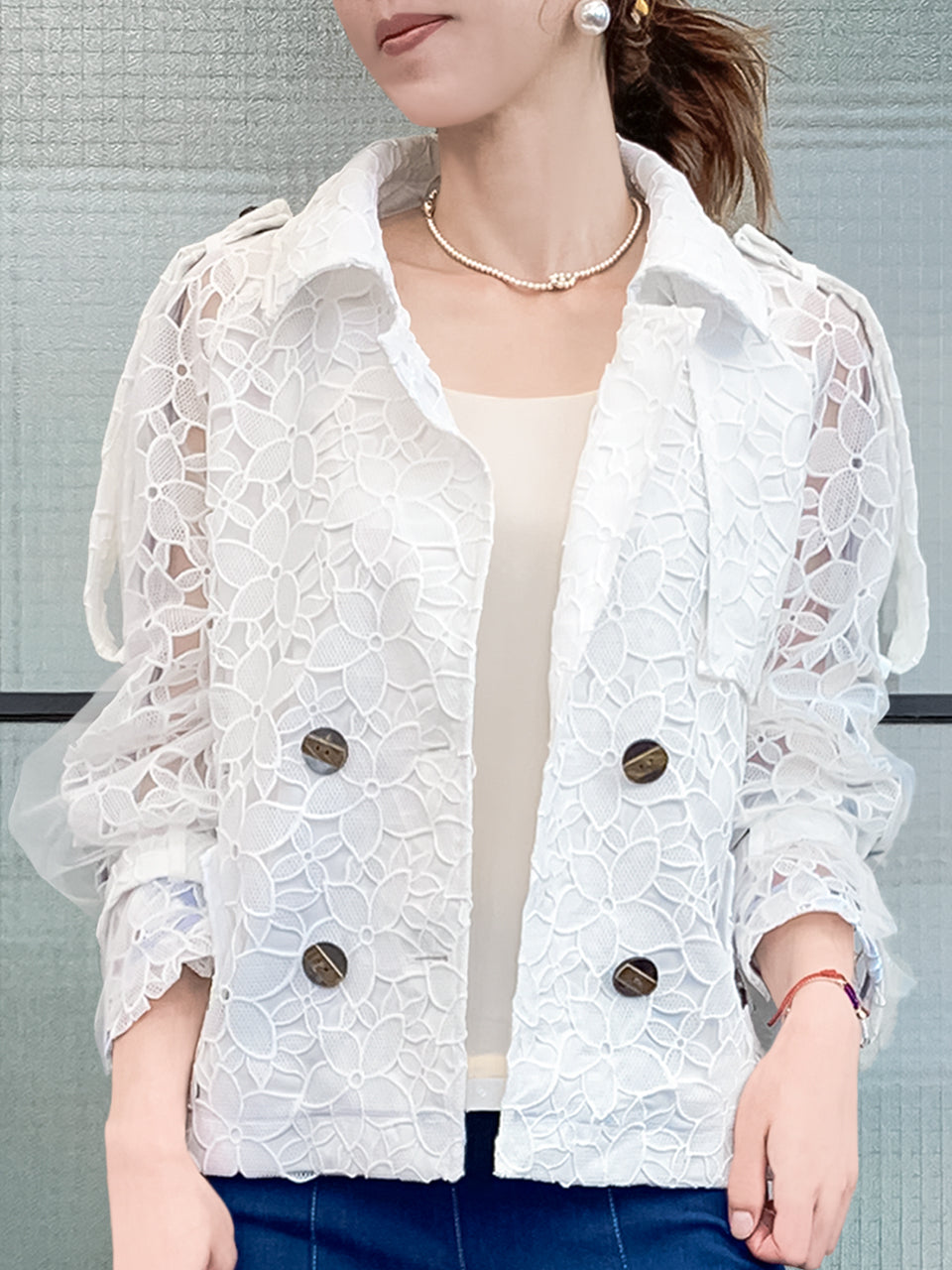 New Colour! White Mesh Overlay Sleeves Floral Lace Crop Trench Jacket