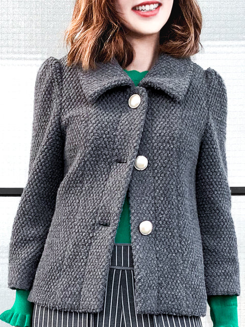 Iron Grey Puff Sleeves Boxy Textured Woollen Jacket