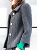 Surprise Sale! Iron Grey Puff Sleeves Boxy Textured Woollen Jacket