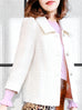 Ivory White Puff Sleeves Boxy Textured Woollen Jacket