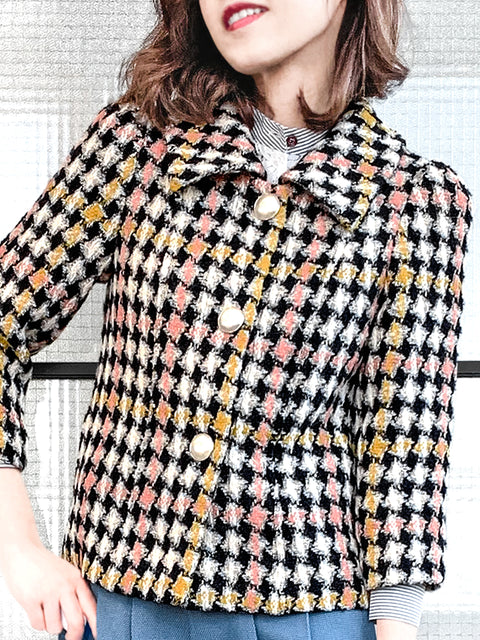 Colourful Houndstooth Puff Sleeves Boxy Tweed Jacket