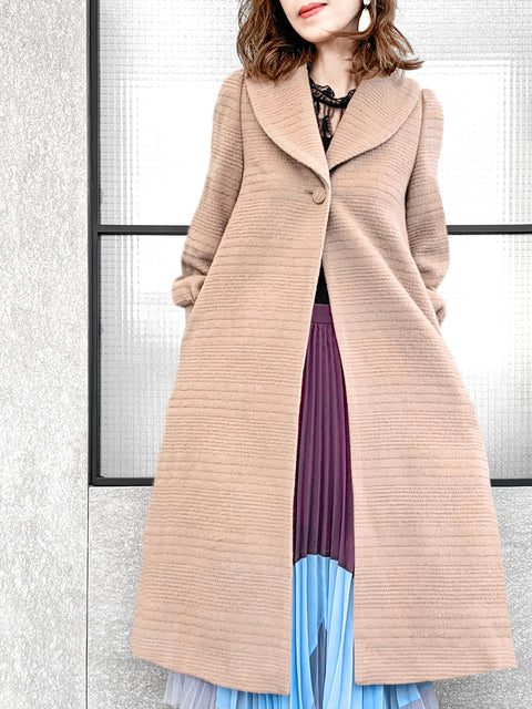 Embossed Stripy Beige One-Button Blouson Sleeves Pure Wool Coat