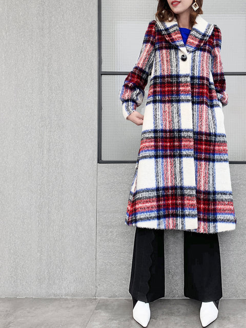 Furry Checks One-Button Blouson Sleeves Pure Wool Coat