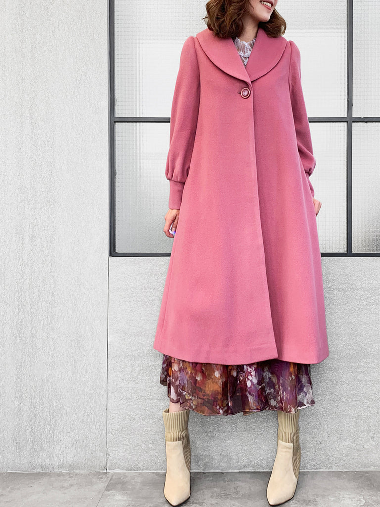 Surprise Sale! Romantic Pink One-Button Blouson Sleeves Pure Wool Coat