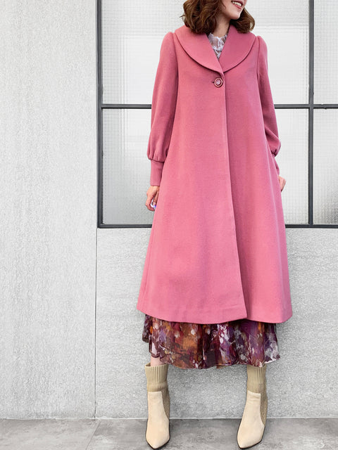 Romantic Pink One-Button Blouson Sleeves Pure Wool Coat