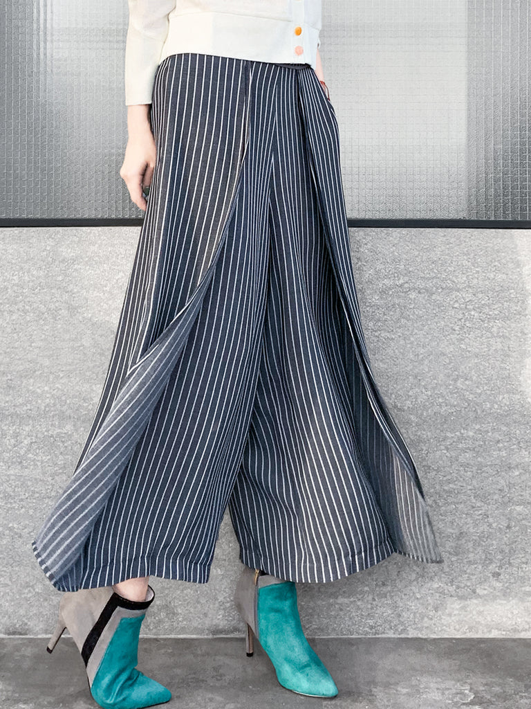 Surprise Sale! Blueish Grey Immaculate Pleating Stripy Woolly Wide Leg Culottes