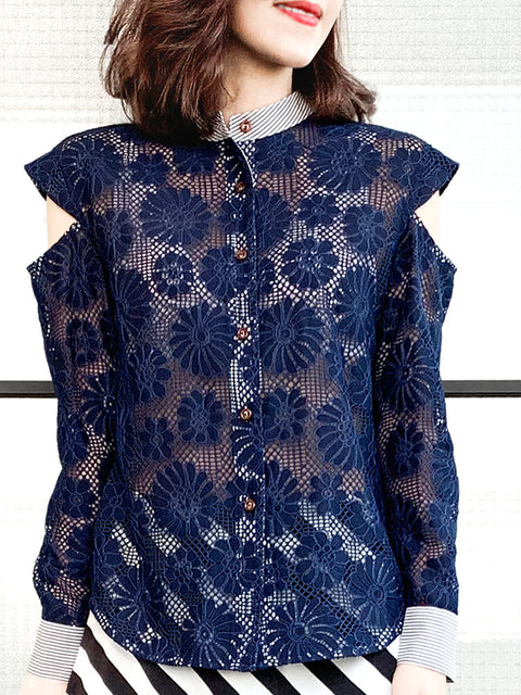 Navy Embroidery Floral Lace Cold Shoulder Stand Collar Shirt