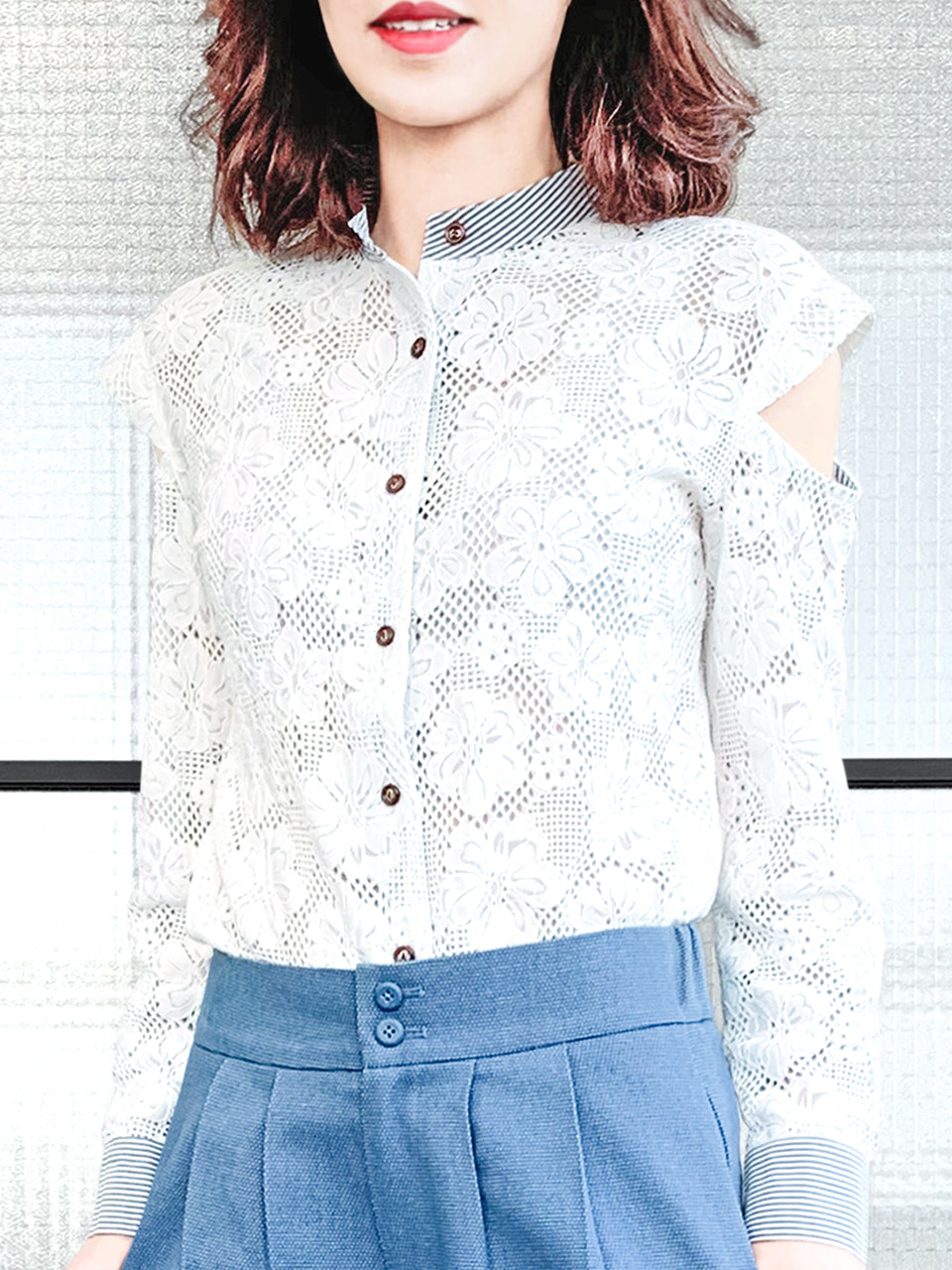 Surprise Sale! White Embroidery Floral Lace Cold Shoulder Stand Collar Shirt