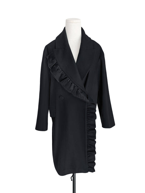 Surprise Sale! Black Layered Ruffle Trim Woolly Cocoon Coat