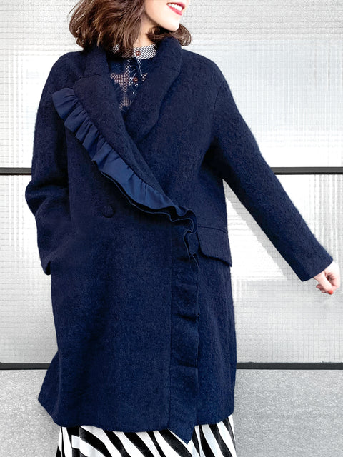 Surprise Sale! Navy Layered Ruffle Trim Woolly Cocoon Coat
