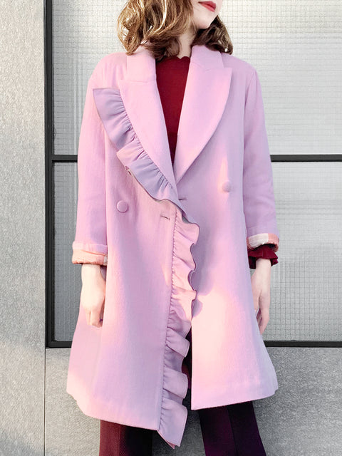 Surprise Sale! Sweet Pink Layered Ruffle Trim Woolly Cocoon Coat1