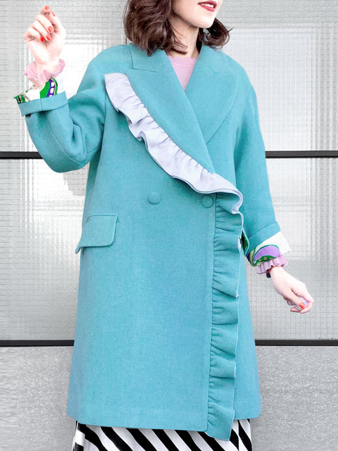Turquoise Layered Ruffle Trim Woolly Cocoon Coat