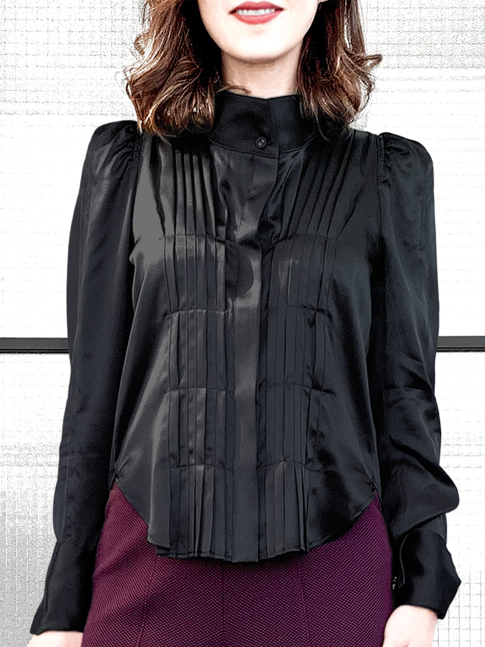 Surprise Sale! Black Pleat Front Puff Sleeve Button-Up Silk Shirt